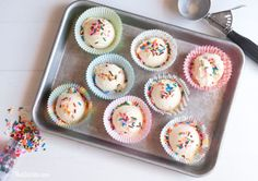 To save time and effort at kids' parties, blogger Rachel Hollis suggests scooping ice cream into cupcake liners, placing on a cookie tray, then sticking in the freezer. When it's time to serve dessert, all the work will already be done.