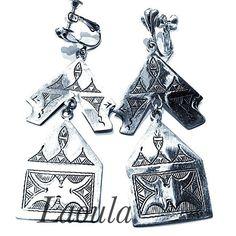 Boucle d oreille argent clips ciselé PL, bijoux ethnique