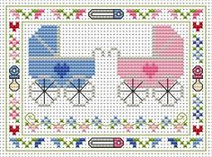 Welcome Twins Cross Stitch Card Kit Baby Cross Stitch Patterns, Cat Cross Stitches, Cross Stitch For Kids, Cute Cross Stitch, Cross Stitch Kits, Cross Stitch Designs, Cross Stitching, Cross Stitch Embroidery, Cross Stitch Letters
