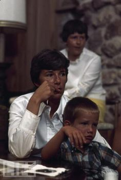 Neil Armstrong's wife Jan and son Ricky watch him walk on the moon