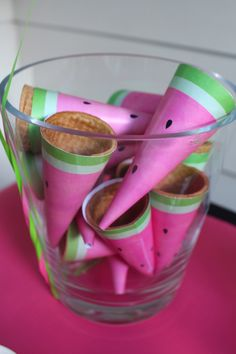 Watermelon ice cream cone wrappers! Watermelon themed birthday party via Kara's Party Ideas | The Place for All Things Party! KarasPartyIdeas.com (17)