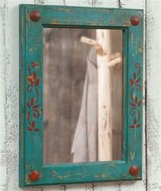 Rustic Turquoise and Red Mirror - Reclaimed Furniture Design Ideas