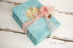 Shabby Guest Book or Wedding album in Teal, Aqua , Light Pink and Gold leaf…