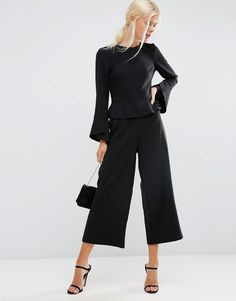 5e227c854211 Image 4 of ASOS Jumpsuit With Soft Ruffle and Raw Edge Raw Edge