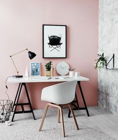 Pink home office; home office ideas; chic home office; modern home office; Workspace Inspiration, Interior Inspiration, Room Inspiration, Interior Ideas, Interior Colors, Modern Interior, Desk Inspo, Interior Styling, Interior Office