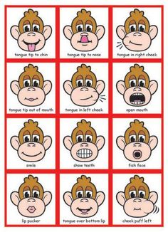 This could easily be created into a poster or sheet to use with a child, just to do simple mouth exercises. I like that it is fun with the monkey theme, but it also models for the student what the action should look like.