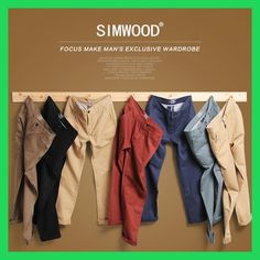 Simwood Brand Autumn Winter New Fashion 2017 Slim Straight Men Casual Pants 100% Pure Cotton Man Trousers Plus Size KX6033
