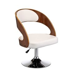 Coppice Bar chair [2402310], in walnut wood, chrome and white leather effect seat and backrest. Size: 56 x 60 x H 68 to 89cm. £193