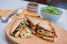 A club sandwich is a good way to use up left over chicken, if you ever have any. The addition of Ballymaloe Original Relish brings an added layer of taste. Our recipe uses crispy streaky bacon, but a rasher cooked just before it crisps up, will do just as well.  #club #sandwich #bacon #lettuce #rasher #chicken #relish Roast Chicken, Grilled Chicken, Chicken Works, Piece Of Bread, Soup And Sandwich, Recipe Using, Crisp, Bacon, Sandwiches