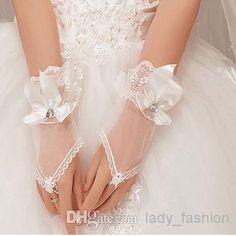 pulso comprimento luvas sheer tule branco lace nupcial luvas de dedo do anel de casamento luvas frisado com arco sem