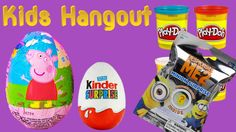 5 Surprise eggs opening blindbags play doh Peppa pig Smurfs Minions Kids Hangout kinder toys  Other Surprise Egg Videos : 45 Kinder Play Doh Surprise Eggs D...