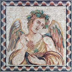 Near East, ca. 2nd to 3rd century CE.  This is one of the Four Seasons series which was a favorite theme in antiquity. Almost a perfect square, this finely detailed example features polychrome tesserae of blue, turquoise, green, pink and red set against a ground of cream.  She is an amazing beauty, head tilted to her left, she wears a foliate wreath of grapevines and grapes. The presence of the grapes suggests that it is Autumn. The grapes are the attribute of Dionysos and the composition…