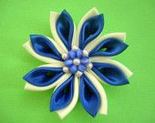Snowflake - Satin Kanzashi Flower Hair Clip - Japanese Hair Fascinator - Free Shipping to the USA on All Items 20 Dollars and Above. $20.00, via Etsy.