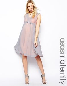 Enlarge ASOS Maternity Exclusive Midi Dress In Mesh With Twist Front