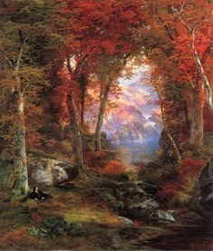 Thomas MORAN  [English-born AmericanHudson River SchoolPainter, 1837-1926]  The Autumnal Woods (Under The Trees), 1865  oil on canvas