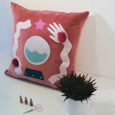 Pink Velvet 'Fortune Teller' Cushion - Handmade with applique design on the front. Available on my etsy shop.