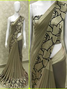 BEAUTIFUL GEOMETRICAL GEORGETTE 5D SARTIN SAREE -only Full stock available !!