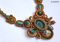 Bold oversized statement necklace Soutache jewelry by Soutacherie