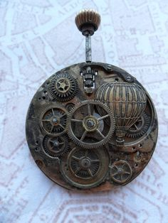 Steampunk Victorian Hot Air Balloon Over London by SteampunkBijoux, $55.00