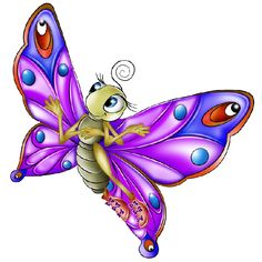 Very Colourful Butterfly Cartoon Images. All  Images Are On A Transparent Background