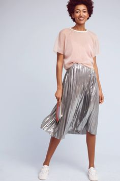 Slide View: 1: Levina Pleated Midi Skirt, Silver