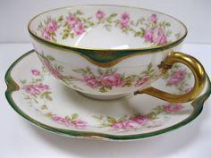 Haviland Limoges Pink Rose Brace Handled Tea Cup & Saucer