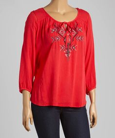 Another great find on #zulily! Red Geometric Peasant Top - Plus by Simply Irresistible #zulilyfinds