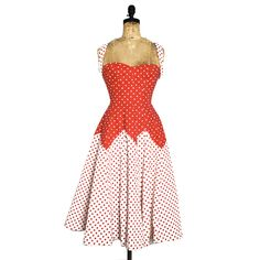 60s Polka Dot Pin Up Dress red, white, vintage - perfect summer dress