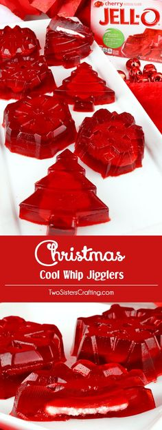 Christmas Cool Whip Jigglers - Jello Jigglers filled with yummy Cool Whip. Fun, easy and festive. Kids and adults will enjoy these tasty Christmas treats. This is a great Holiday Jell-o recipe that the kids will ask for again and again. Pin this delicious Christmas Deserts, Christmas Party Food, Xmas Food, Christmas Cooking, Christmas Treats, Cool Whip, Jello Jigglers, Jello Recipes, Fun Desserts