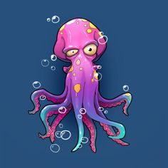 Octopus Drawing, Sea Drawing, Octopus Art, Doodle Characters, Graffiti Characters, Cartoon Drawings, Art Drawings, Nemo Coloring Pages, Octopus Illustration