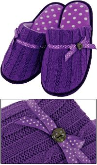 Purple Paws & Circles Button Knit Slippers at The Animal Rescue Site
