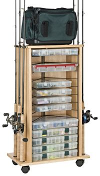 The Organized Fishing Cabinet Rack features solid hardwood construction with a durable, clear lacquered finish. The outside of the unit has rod racks to Fishing Pole Storage, Fishing Pole Holder, Pole Holders, Fly Fishing Rods, Gone Fishing, Fishing Tips, Bass Fishing, Fishing Stuff, Fishing Tackle