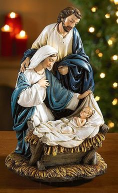 Come Let Us Adore Him Musical Nativity Scene From the Avalon Gallery A very special scene with Mother Mary and Joseph looking down upon the new born King Baby Jesus. This Nativity is musical and plays