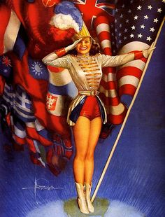 Majorette with Flags