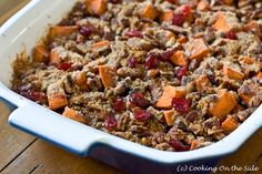 Roasted Sweet Potatoes with Cinnamon Pecan Crunch...get the recipe at www.cookingontheside.com #thanksgiving