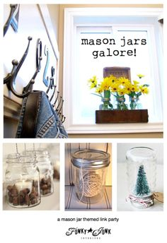 Mason jars galore! Features and a themed link party via Funky Junk Interiors
