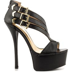 Qupid Women's Sylvia - Black Emboss (72 CAD) ❤ liked on Polyvore featuring shoes, black, sexy black stilettos, platform shoes, sexy high heel shoes, high heels stilettos and black buckle shoes