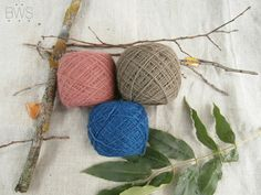 CORNFLOWER&POPPY. Set of natural plant dyed / hand dyed wool yarn eco…