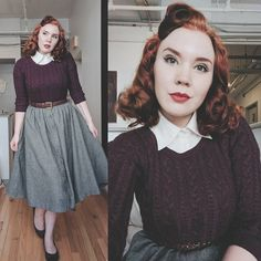 """oing my best Sweater Girl"""" 💁 If I could just wear variations of this outfit forever, I think I'd be okay with it Vintage Stil, Look Vintage, Vintage Mode, Modern Vintage Style, Fashion Blogger Style, Fashion Mode, Fashion Outfits, Fashion Tips, Fashion Bloggers"""