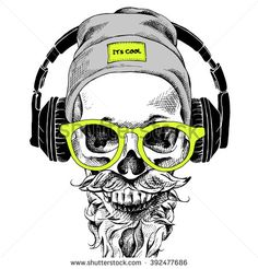 Skull with beard, mustache in the hipster hat and headphones, glasses. Vector il… Skull with beard, mustache in the hipster hat and headphones, glasses. Sombrero Hipster, Hipster Hat, Hipster Glasses, Hipster Mustache, Beard No Mustache, Moustache, Beard Hat, Tatoo Geek, Skull Tattoos