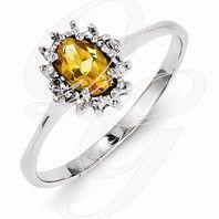 Sterling Silver Rhodium Citrine Diamond Ring