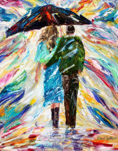 Rainy Love original oil painting abstract palette by Karensfineart