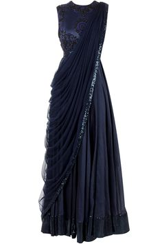 lovely midnight blue J BY JANNAT Blue anarkali with draped dupatta