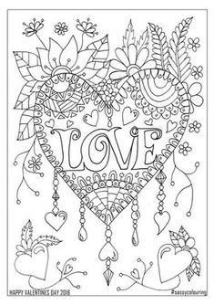 ideas for embroidery art adult coloring Coloring Pages For Grown Ups, Love Coloring Pages, Printable Adult Coloring Pages, Mandala Coloring Pages, Coloring Books, Free Coloring, Coloring Pages For Adults, Printable Valentines Coloring Pages, Valentines Day Coloring Page