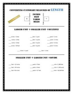 units of measurement inches feet and yards math activities pinterest worksheets. Black Bedroom Furniture Sets. Home Design Ideas