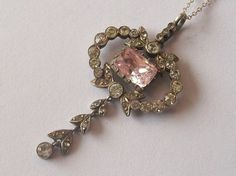 Antique Victorian Solid Silver and Paste Necklace
