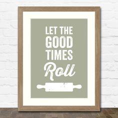 Rolling Pin Print (Cooking Apple Green) in Oak Frame