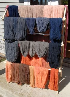 Whitefish Bay Farm natural dye day. Looks like she used some darker color natural fibers. Have always loved the natural dye on the deeper colored sheep fiber.