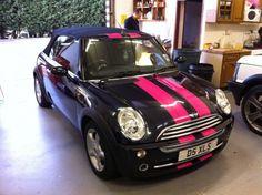 Pink Racing Strips on a Mini Cooper :) Mini Cooper Stripes, Blue Mini Cooper, Mini Cooper Preto, Pink Mini Coopers, Car Paint Jobs, Mini Copper, Cars Coloring Pages, Custom Hot Wheels, Mini One