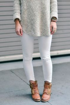 winter white, neutral, turtleneck, white denim, outfit, brown booties, frye boots, long sweater, skinny jeans, #fashion